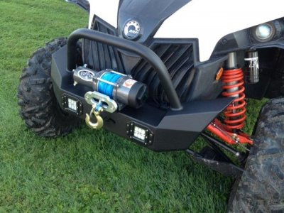 Maverick Front Brush Guard with Winch Mount with LED Lights