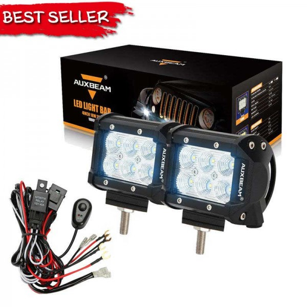 (2PCS/SET) 4 INCH 18W CREE FLOOD BEAM OFF-ROAD LED WORK LIGHTs WITH WIRING HARNESS