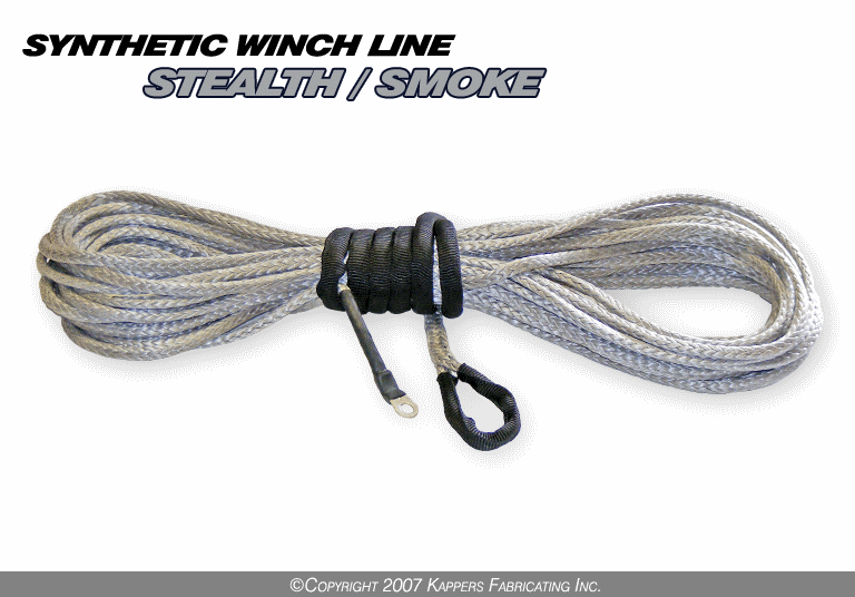 "3/16"" Synthetic 50' ATV Winch Cable (Smoke)"