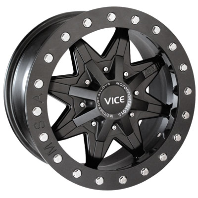 Motosport Alloys M16 Vice Beadlock Wheel 14x7 4.0 + 3.0 Black