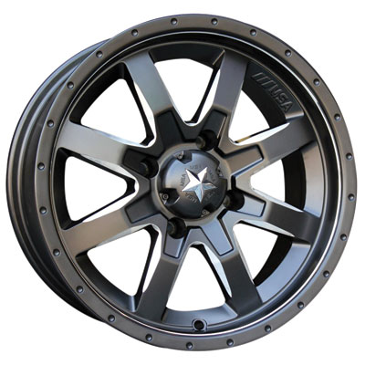 4/137 Motosport Alloys M25 Rocker Wheel 14x7 4.0 + 3.0 Mach/Blk